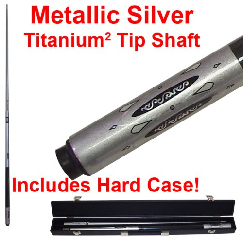 2 Piece Deluxe Metallic Silver Titanium Pool Stick Cue - With Carrying Case! by TMG