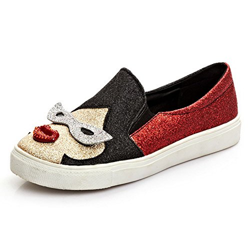 Pull Soft Pumps On Shoes Material Assorted Closed AllhqFashion Round Toe Color Red Womens 8wxvzqIH