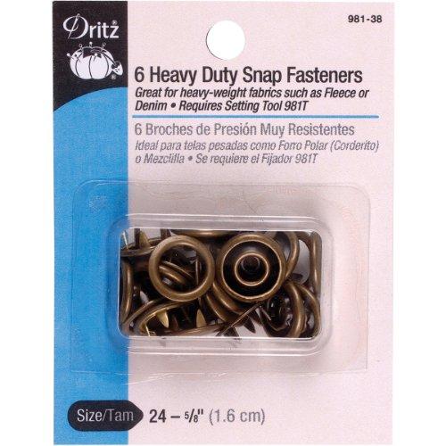 Dritz Heavy Duty Snap Fasteners-Antique Brass - Size 24 - 5/8 inch - 6 Count Dritz Heavy Duty Snap