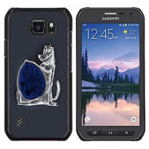 TECHCASE---Cubierta de la caja de protección para la piel dura ** Samsung Galaxy S6 Active G890A ** --Malvada divertida del lobo