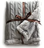 Cable Knit Sherpa Oversized Throw Reversible Blanket Faux Sheepskin Lined Cozy Cotton Blend Sweater Knitted Afghan in Grey White or Turquoise Blue (Chinchilla Stripe)
