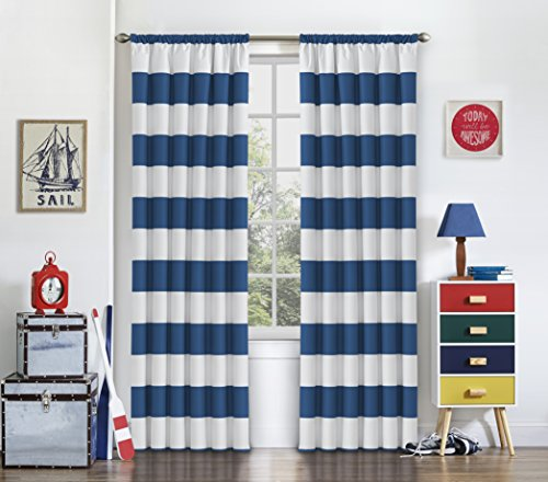 BLU Peabody 42-Inch by 84-Inch Single Window Curtain Panel, Blue ()