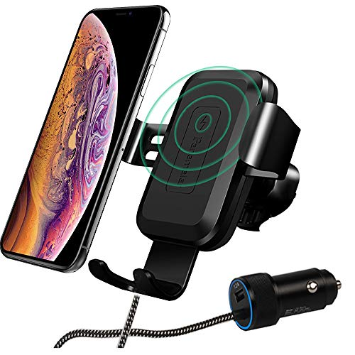 (Panamalar Wireless Car Charger Mount, 7.5W Compatible with iPhone Xs/XS Max/XR/X/8/8 Plus, 10W for Samsung and Other QI Enabled Devices)