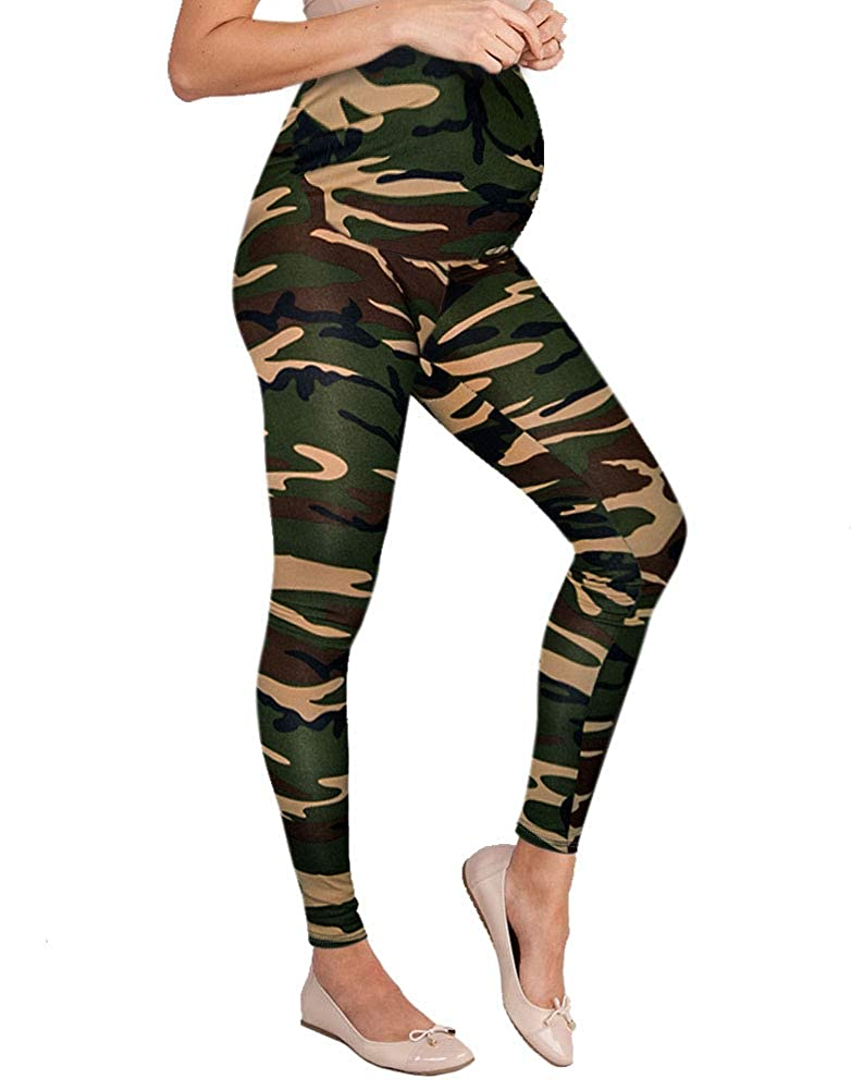 10188camouflage Hybrid & Company Women's Super Comfy Maternity Leggings Made in USA