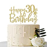 Gold Glitter Happy 30th Birthday Cake Topper,Hello 30,Cheers to 30 Years,30 & Fabulous Party Decoration