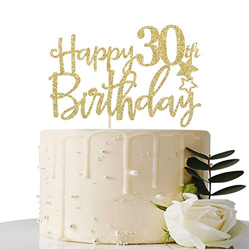 Gold Glitter Happy 30th Birthday Cake Topper,Hello 30,Cheers to 30 Years,30 & Fabulous Party Decoration -