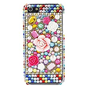 Colorful Flower and Diamond Surface Hard Case for iPhone 5/5S