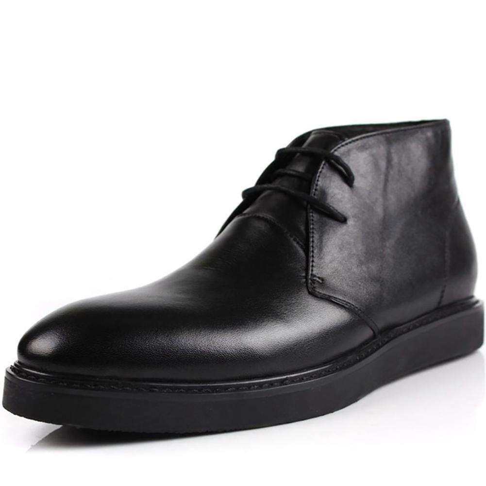- NANXZ Herren British Leather Spitz Oxford Schuhe Dick Schwarz