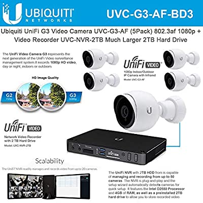 UniFi G3 Video Camera UVC-G3-AF (5 Pack) 802.3af 1080p with Unifi G3 Network Video Recorder UVC-NVR-2TB Much Larger 2TB Hard Drive