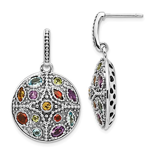 14k Multi Stone Dangle (ICE CARATS 925 Sterling Silver 14k Multi Gemstone Post Stud Drop Dangle Chandelier Earrings Fine Jewelry Gift Valentine Day Set For Women Heart)