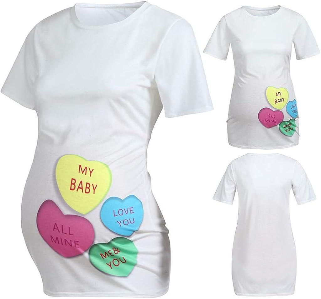 Damen Umstandsshirt Mutterschaft Kurzarm Herzform Brief Druck Tops T-Shirt Schwangere Oberteile Freizeitkleidung Klassische Mama Schwangerschaft Rundhals Schwangerschafts Umstandstop