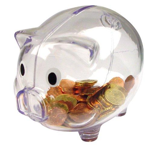 2 opinioni per Salvadanaio di plastica trasparente / Money Box (trasparente)