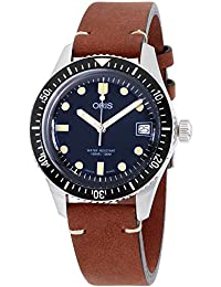 Divers Sixty-Five Blue Dial Leather Strap Mens Watch 73377474055LSBRN · Oris