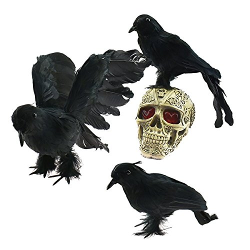 AOFOX Realistic Feathered Crows - Halloween Decoration Realistic Looking 3 Pcs Birds Black Feathered Crows Halloween Prop -