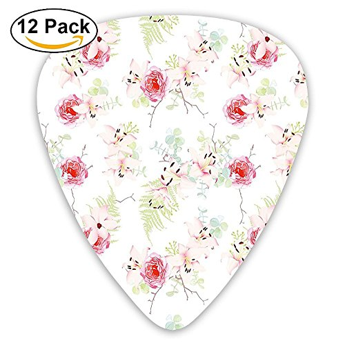 Newfood Ss Lily Flowers Bouquet With Rose And Fern Blooms Botany Pastel Design Guitar Picks 12/Pack Set