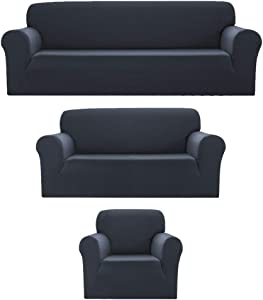 Sapphire Home 3pc SlipCover Set for Sofa Loveseat Couch, Form fit Stretch & Wrinkle Free, Furniture Protector Cover, Premium Fabric, Polyester Spandex, Slipcover Diamond 3pc, Dark Gray Charcoal