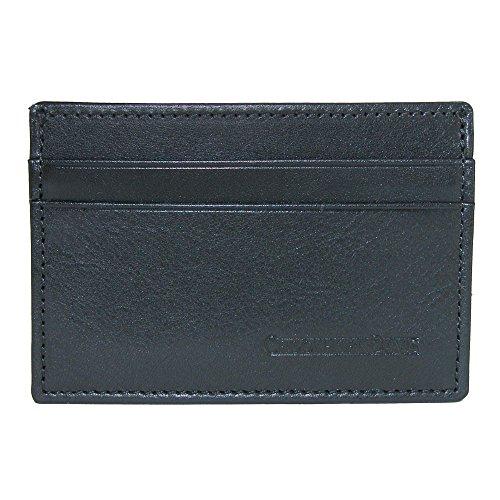 Black Italian Vachetta Leather - CrookhornDavis Men's Italian Vachetta Calfskin Leather Card Case, Black