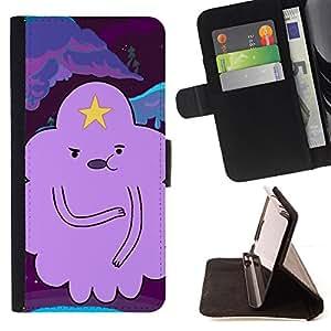 BullDog Case - FOR/Samsung Galaxy S3 III I9300 / - / cloud star cartoon character purple /- Monedero de cuero de la PU Llevar cubierta de la caja con el ID Credit Card Slots Flip funda de cuer