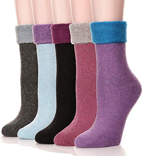 (Womens Wool Socks Thermal Heavy Thick Soft Warm Fuzzy Work Winter Socks 5 Pack (Turn Over Cuff-Purple))