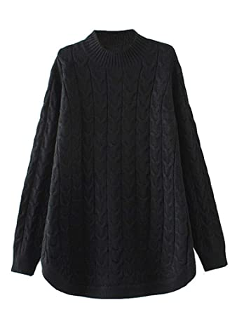 08c251fa63 Minibee Women s Long Sleeve Sweater Mock Turtleneck Pullover Tops Ribbed  Cable Knit Jumper Black M