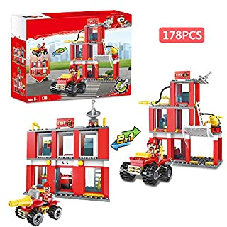 City Fire Station Fire Truck Fire Fighter Building Set Fire Engine Vehicles Set Juniors Present Building Blocks Xmas Gifts Construction Play Set Education Toys for Boys Girls 178pcs 2 in 1