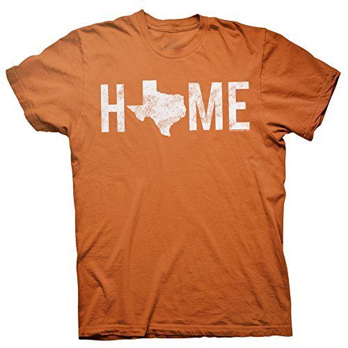 Texas is Home - Proud Texan Lone Star State Distressed T-Shirt - TX Orange-XL