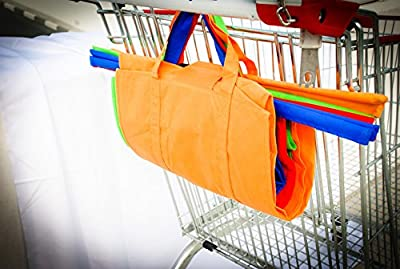 Reusable Shopping Trolley/Cart Bags, Eco-friendly 4 Bag Set Includes an Insulated Cooler Bag for Frozen Products. Eezi Shop.