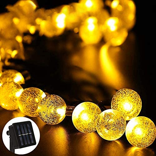 Solar String Lights, 39FT 100 LED WarmWhite Solar Fairy Lights 8 Lighting Modes Waterproof Outdoor Crystal Ball Decor Lamp for Garden Yard Patio Flower Trees Lawn Landscape Party Wedding Christmas