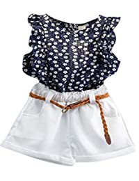 Staron 3PCS Toddler Baby Girls Summer Outfit T-shirt Tops+Shorts Pants Kids Set