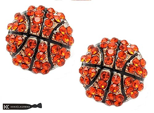 Kenz Laurenz Basketball Earrings Basketball Jewelry for Girls Perfect Basketball Gifts for Women Silver Sport Fashion Post (Silver)]()