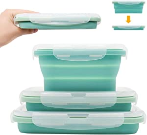 CYX Folding Silicone Lunch Box,Set of 3 Collapsible Food Storage Container BPA Free With Cover Lunch Box, Foldable Design Allows you to store more conveniently-(350/500/800ML)