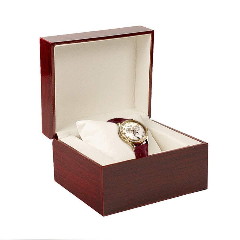 Estuche para Relojes,GossipBoy Premium Brillante de Madera Reloj de Pulsera/Brazalete Caja Almohada Estuches para Relojes gran Regalo de Cumpleaños ...