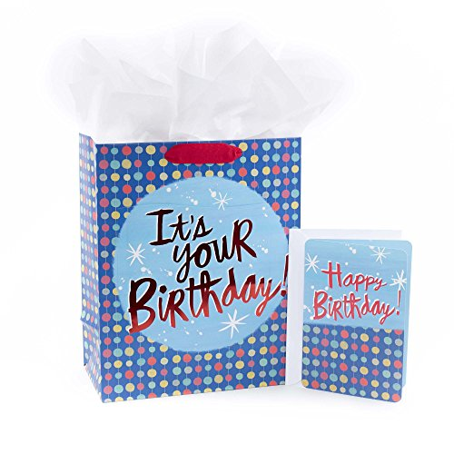 Hallmark Large Gift Bag with Card and Tissue (Happy Birthday Dots) -