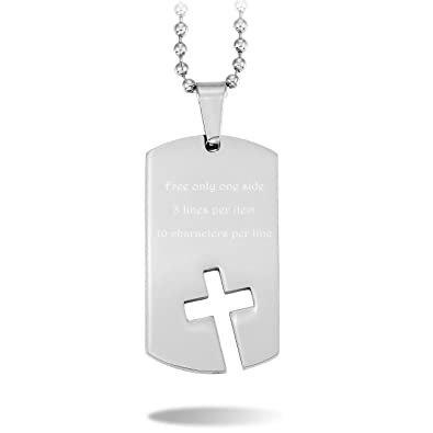 MeMeDIY Stainless Steel Pendant Necklace Dog Tag Cross,come with Chain - Customized Engraving