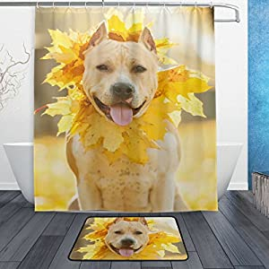 My Daily American Staffordshire Terrier Dog Wreath Shower Curtain 60 x 72 inch with Bath Mat Rug & Hooks, Waterproof Polyester Decoration Bathroom Curtain Set 2