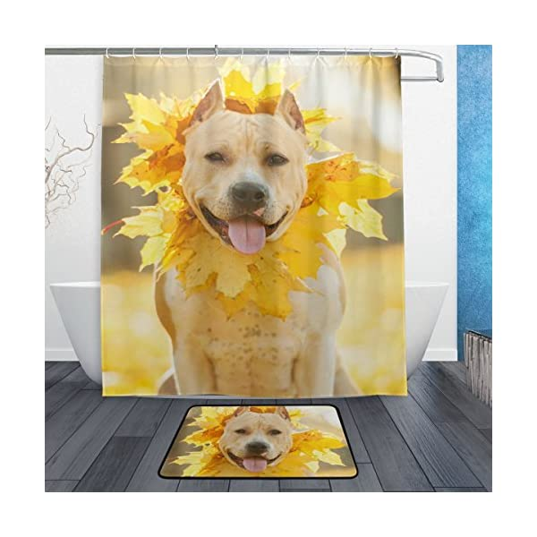 My Daily American Staffordshire Terrier Dog Wreath Shower Curtain 60 x 72 inch with Bath Mat Rug & Hooks, Waterproof Polyester Decoration Bathroom Curtain Set 1