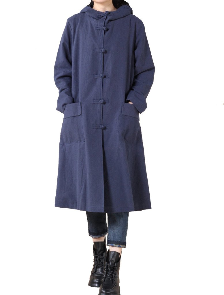 Mordenmiss Women's Long Sleeve Hooded Frog Button Coat with Two Pockets Style 3 M Blue