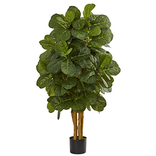 Tree Leaf Natural - Nearly Natural 4' Fiddle Leaf Fig Artificial Tree, Green