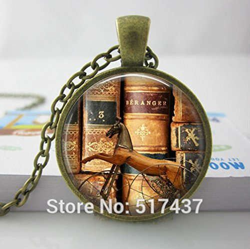 Pretty Lee Glass Dome Necklaceold Books Necklace Book Lover Pendantlibrarian Gift Writer Teacher Gift ()