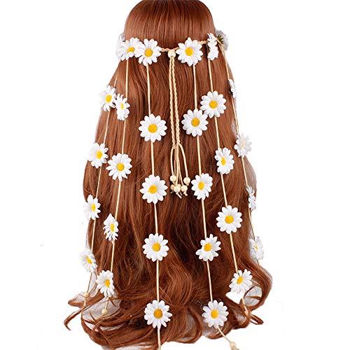 Flower Headband Hippie Sunflower Hairband Floral Crown Bohemian Hair Bands Women Girls Boho Hair Hoop Headdress Headwear Headpiece Party Decoration Cosplay Costume Cute Handmade Hair Accessories White