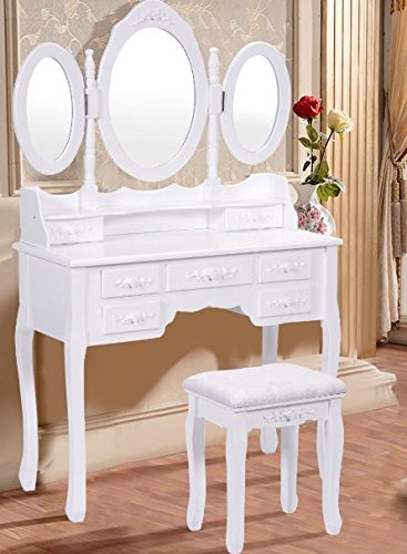 K&A Company Vanity Tray Makeup Perfume Mirror Organizer Vintage Dresser Cosmetics Mirrored Make Up with Tri Folding Mirror 7 Drawers White by K&A Company