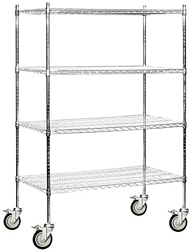 Salsbury Industries Mobile Wire Shelving Unit, 48-Inch Wide by 80-Inch High by 24-Inch Deep, Chrome Mobile Wire Shelving Unit