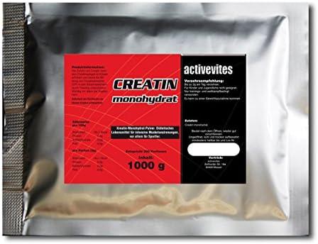activevites 1kg reines Creatin Monohydrat 200 Mesh Kreatin Pulver