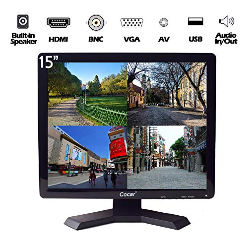 """15"""" Professional CCTV Monitor VGA HDMI AV BNC, 4:3 HD Display (LED Backlight) LCD Security Screen with USB Drive Player for Surveillance Camera STB PC 1024x768 Resolution Built-in Speaker Audio In/Out"""