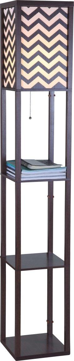 SH Lighting 6958-br-b Major-Q Wood Book Shelf Floor Lamp, 63'' H