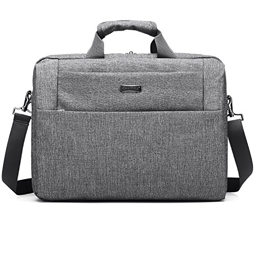 CoolBELL Messenger Bag Multi-compartment Shoulder Bag Laptop Bag Briefcase Handbag Water-resistant Oxford Cloth For 15.6 Inch Laptop/Ultrabook/Macbook/Men/Women (Grey)