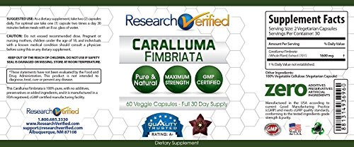 Research Verified Caralluma Fimbriata - One Month Supply - 100% Pure Natural Caralluma Fimbriata - 1600mg/day - 365 Day 100% Money Back Guarantee - Try Risk Free for Fast and Easy Weight Loss