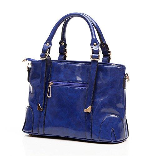QCKJ Fashion Cross Body Umhängetasche Damen Zip PU Blau bandbag Large
