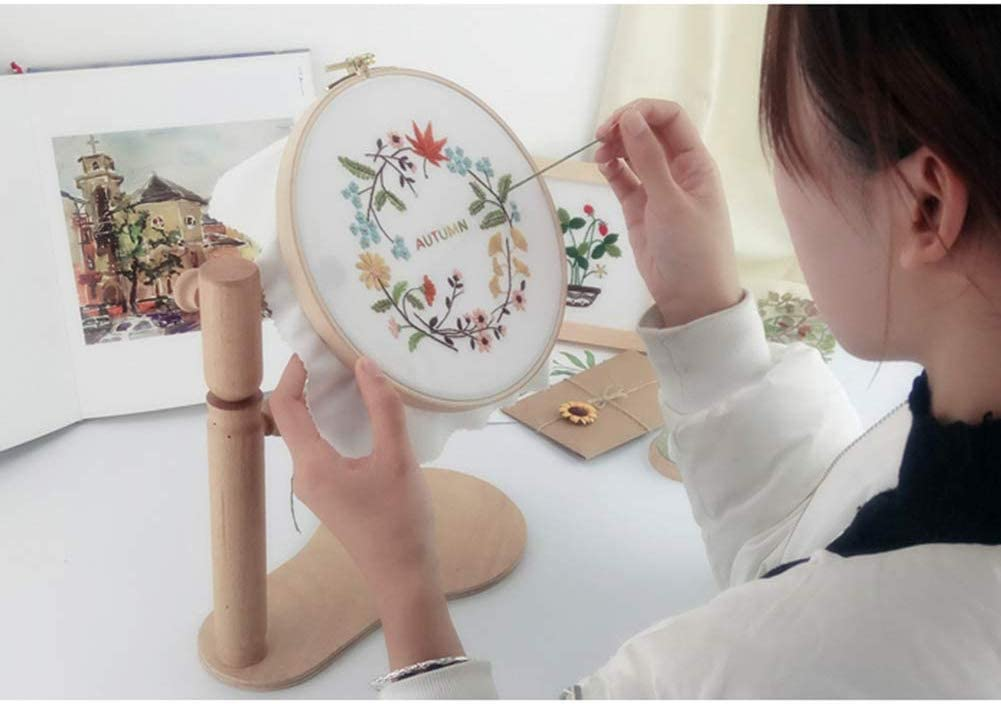 Wooden Standing Leg Cross Stitch Frame High Adjustable INSO 360 Degree Rotation Wooden Embroidery Frame Dia 22cm