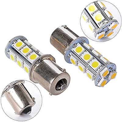 XCSOURCE 10PCS Warm White 1156 BA15S / 1141/1073 / 1095 Base 18 SMD 5050 LED Replacement Bulb for RV Camper SUV MPV Car Turn Tail Signal Brake Backup Light MA241: Automotive